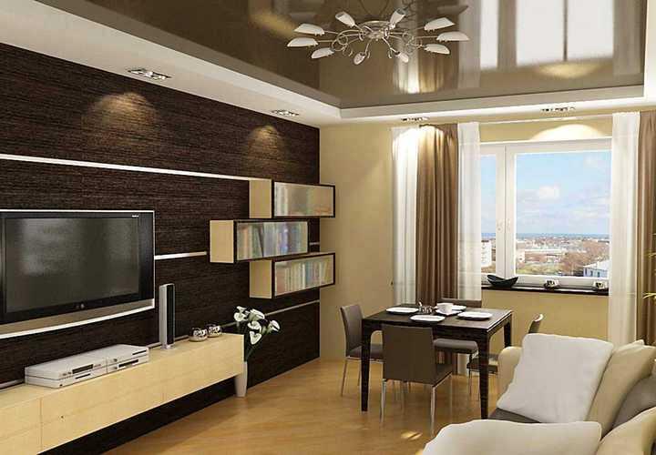 Дизайн гостиной в контрастных тонах