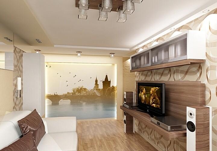 Необычный дизайн гостиной