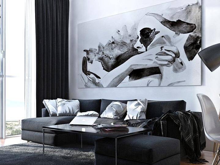 Черно-белый интерьер