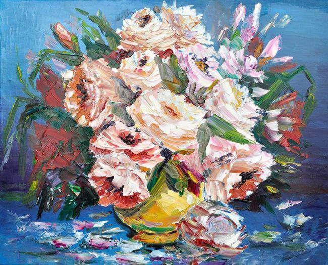 Анна Орион. Букет цветов в золотой вазе