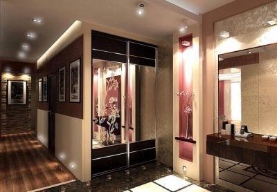 Дизайн прихожей в квартире в современном стиле с оригинальными светильниками