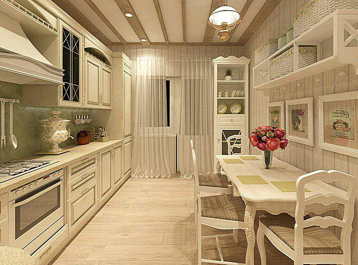 Кухня в кремовых тонах