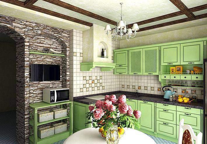 Светло-зеленый кухонный гарнитур в интерьере