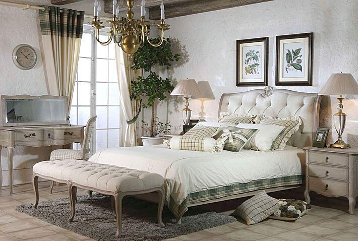 Спальня в серо-голубых тонах в стиле прованс