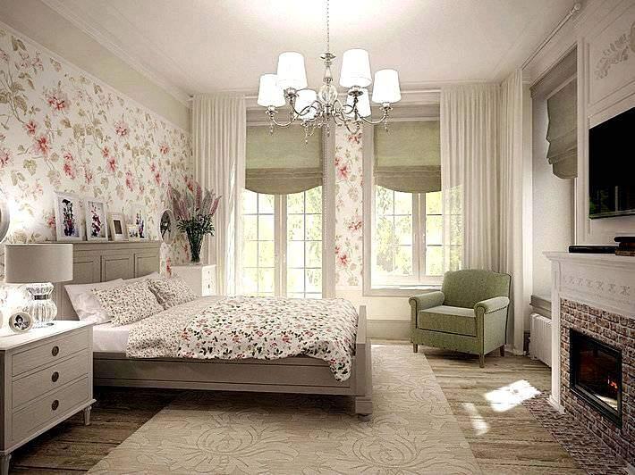 Современный интерьер спальни в стиле прованс