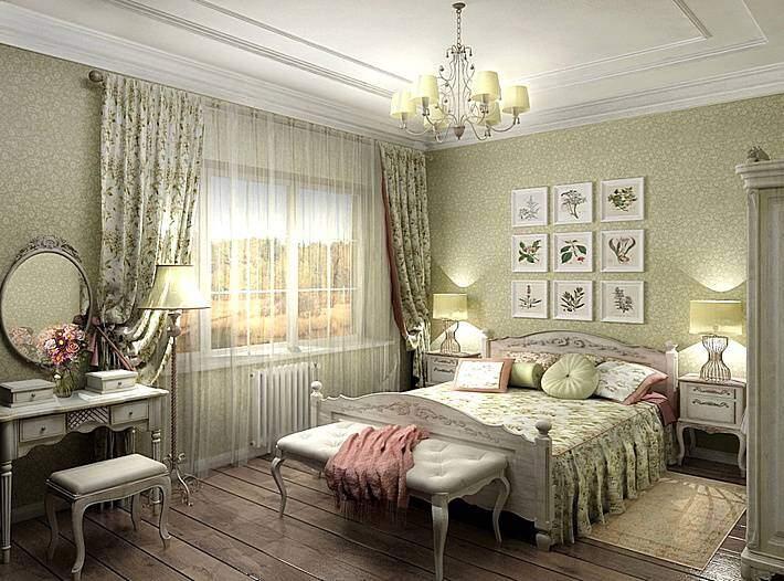 Спальня в серо-зеленых тонах