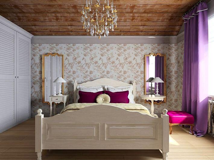 Спальня с потолком из натурального дерева