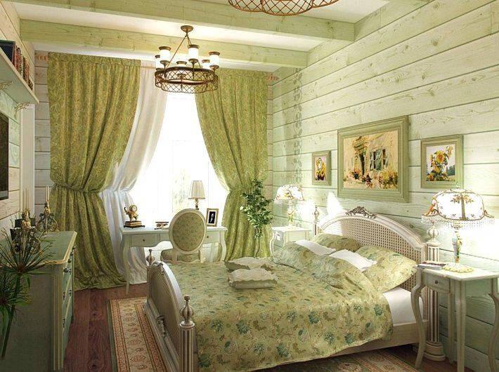 Спальня в стиле прованс в светло-зеленых тонах