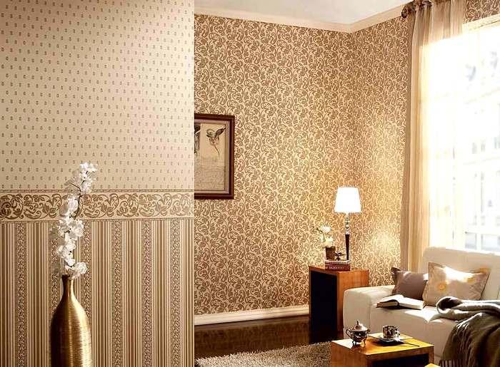 Три типа обоев в интерьере гостиной