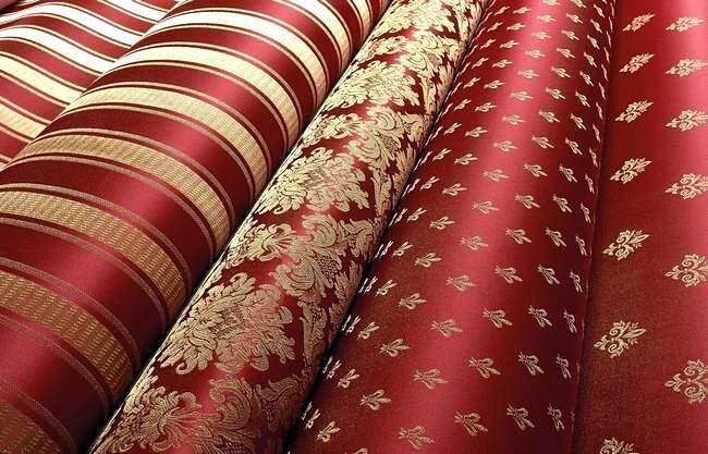Текстильные обои для интерьера гостиной комнаты
