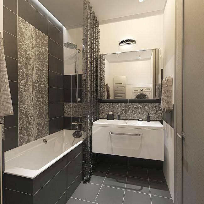 Темный кафель в интерьере маленькой ванной