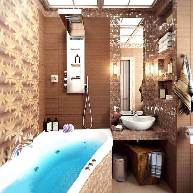 Маленькая ванная комната в теплых тонах