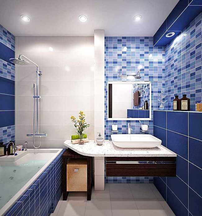 Отделка ванной комнаты в синих тонах