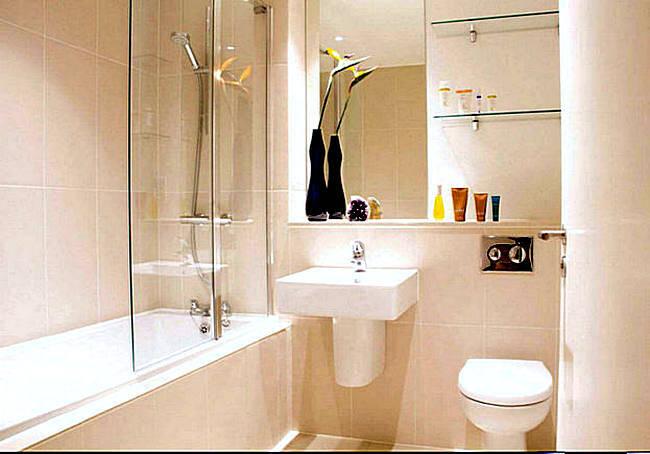 Нежная отделка интерьера ванной комнаты