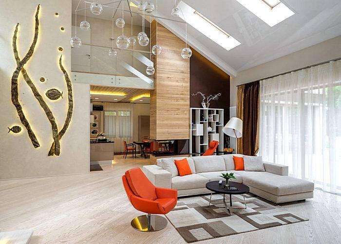 Интерьер современной гостиной в стиле минимализм