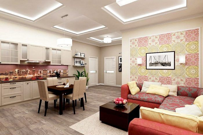 Интерьер просторной квартиры-студии
