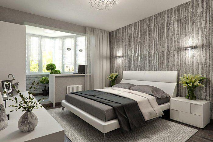 Серые тона в интерьере спальни