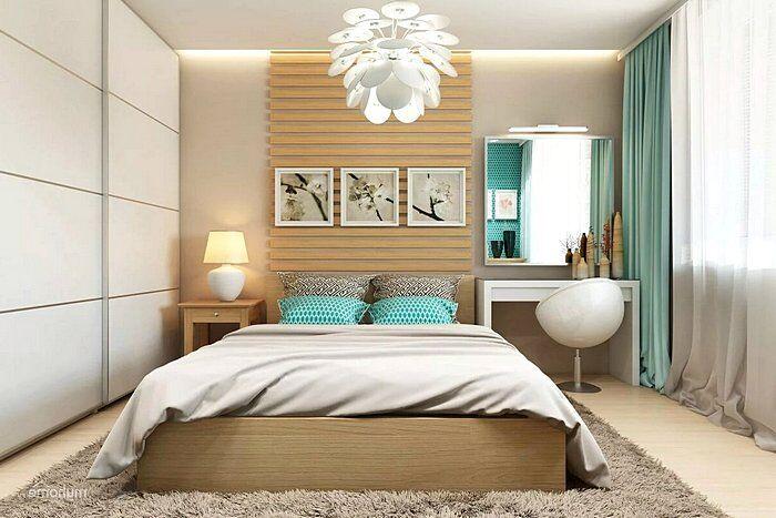 Интерьер спальни с оригинальной люстрой