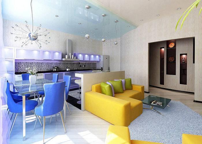 Яркий дизайн интерьера квартиры-студии