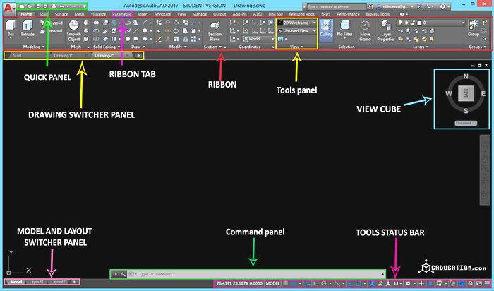 Интерфейс программы для дизайнера интерьера AutoCad