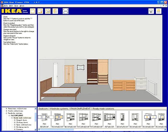 Интерфейс программы для дизайнера интерьера IKEA Home Planner а
