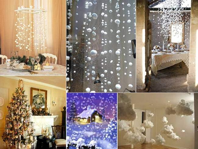 Снежинки из ваты для новогодних гирлянд
