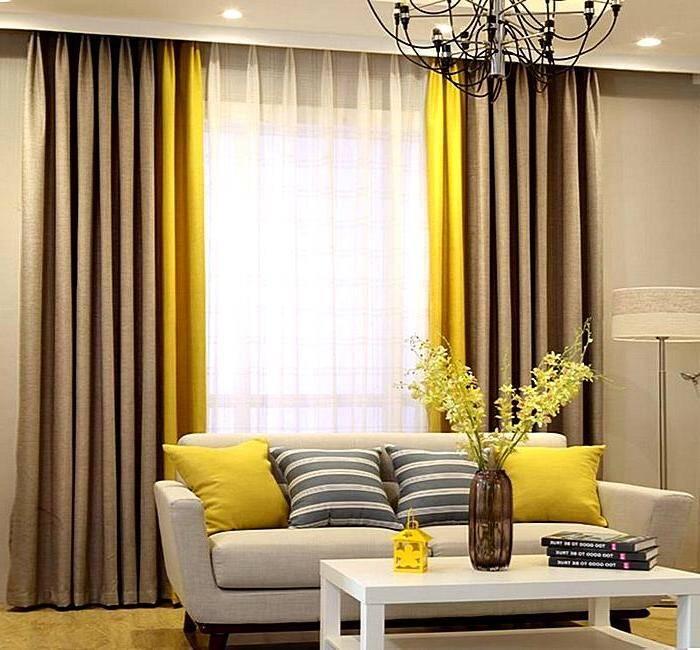 Золотистые комбинированные шторы