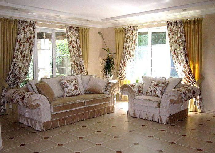 Шторы в стиле прованс для гостиной