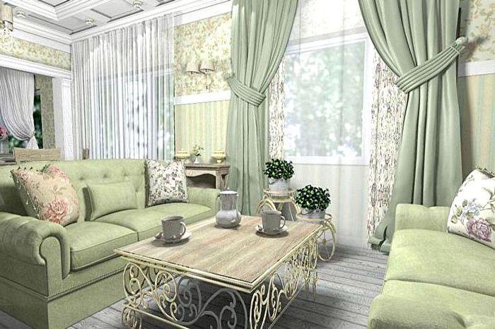 Зеленые шторы в стиле прованс