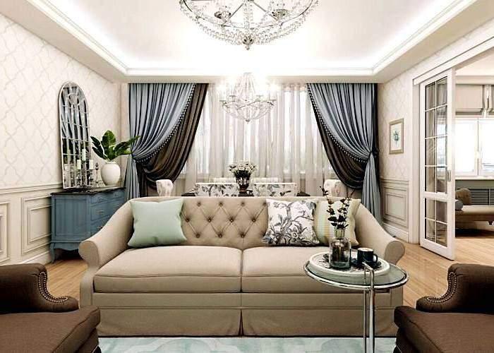 Шторы в гостиной в классическом стиле