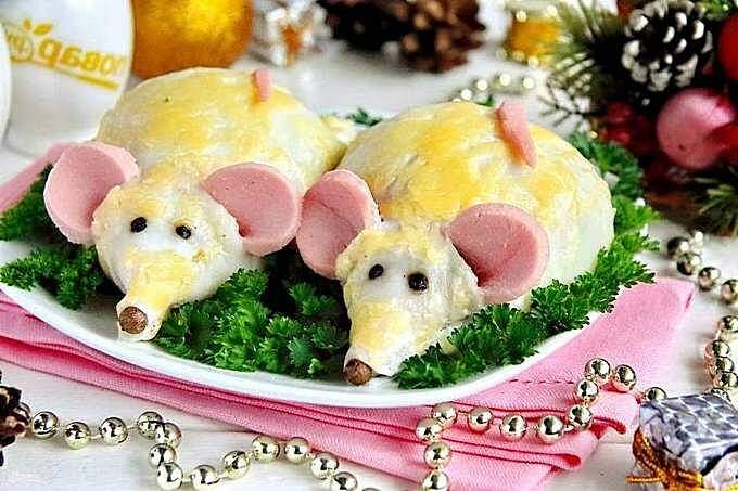 Новогодние блюда с символикой белой крысы
