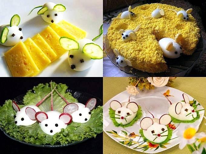 Блюда с фигурками мышей к новому году
