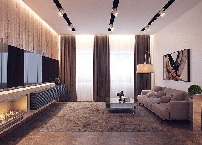 Коричневые шторы в гостиную