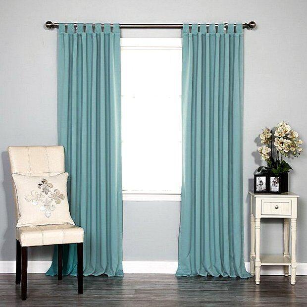 Шторы цвета purist-blue для зала