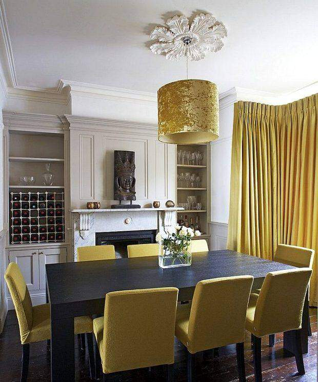 Шторы желтого цвета в интерьере зала