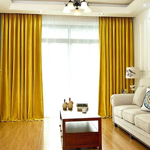 Шторы в гостиной желтого цвета