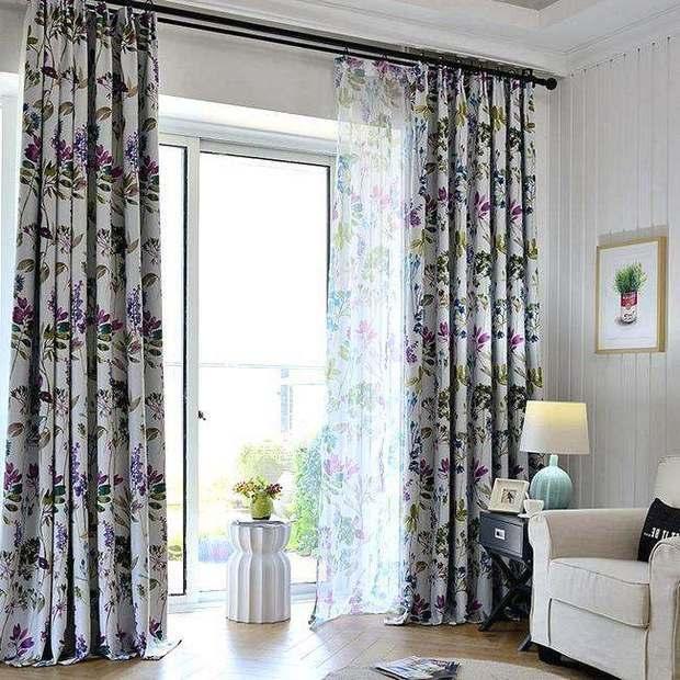 Принты для штор с растительным орнаментом
