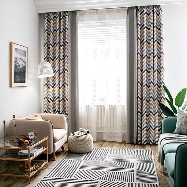Шторы в гостиной в скандинавском стиле