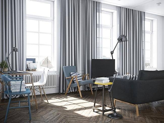 Скандинавские шторы в стиле минимализма