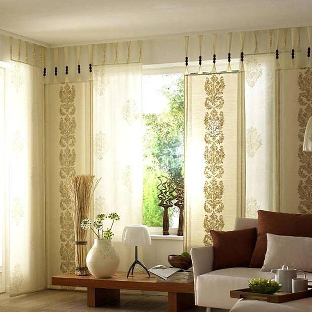 Современные японские шторы в гостиной