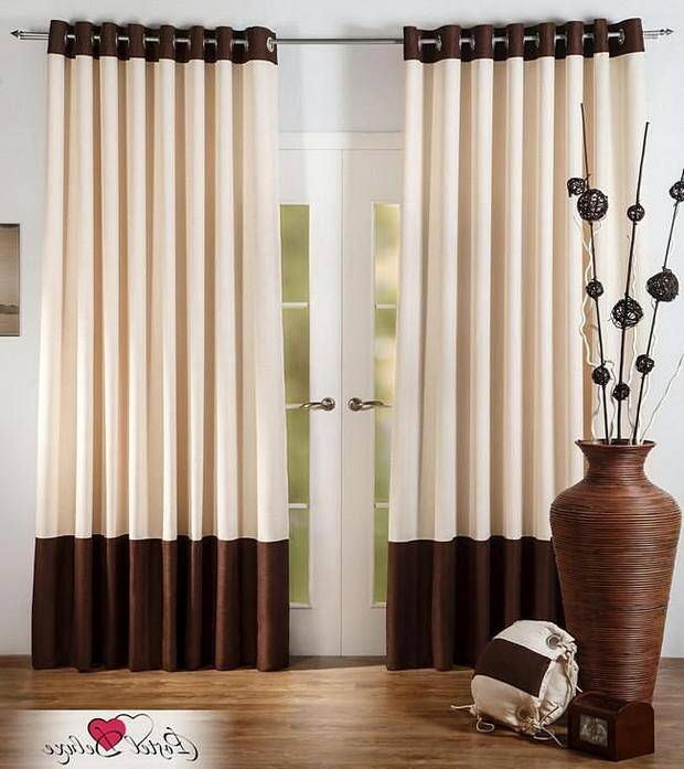 Стильные комбинированные шторы для зала