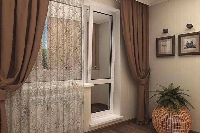 Современные шторы для зала с балконом