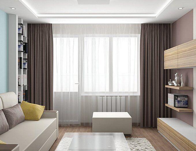 Современные шторы в интерьере гостиной
