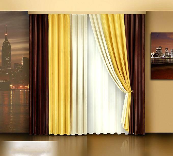 Яркие комбинированные шторы для гостиной
