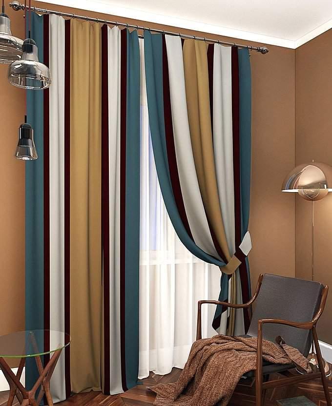 Комбинированные шторы в современном стиле
