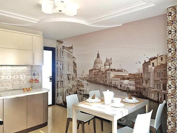 Городской пейзаж на фотообоях в кухне