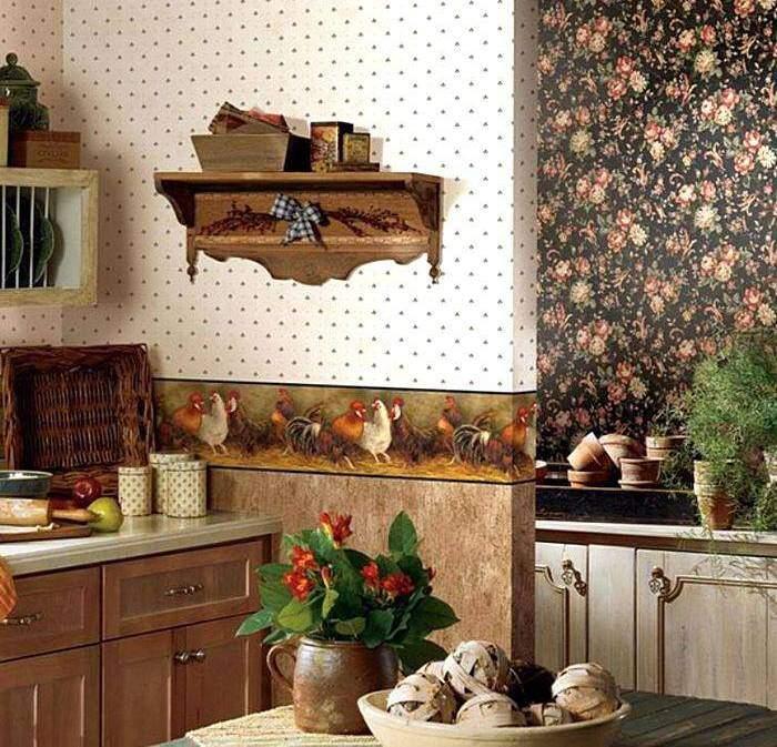 Красивые обои в интерьере кухни