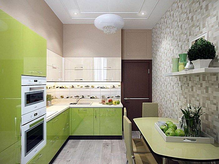 Комбинированные обои в интерьере кухни