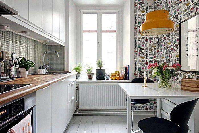 Абстрактные обои в интерьере кухни
