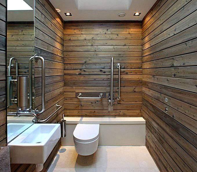 Современный дизайн ваной комнаты с отделкой деревом